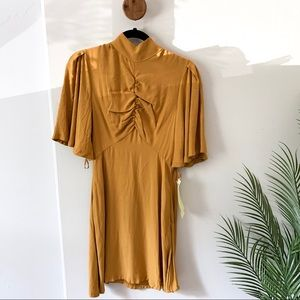 NWT Free People | Be my baby dress Gold
